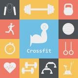 Grupo do vetor de ícones de Crossfit Esporte, aptidão, exercício do gym Fotos de Stock Royalty Free
