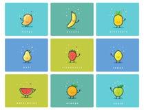 Grupo do vetor de ícones do fruto, caráteres bonitos do alimento dos desenhos animados, ilustração da refeição do bebê Foto de Stock Royalty Free