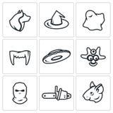 Grupo do vetor de ícones do medo Homem-lobo, bruxa, Ghost, vampiro, UFO, canibal, criminoso, maníaco, rato ilustração do vetor