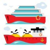 Grupo do vetor de ícones do navio Ilustração colorida dos desenhos animados do estilo liso ilustração royalty free