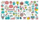 Grupo do vetor de ícones do negócio da garatuja Imagem de Stock Royalty Free