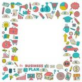 Grupo do vetor de ícones do negócio da garatuja Imagens de Stock