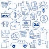 Grupo do vetor de ícones do negócio da garatuja Fotografia de Stock