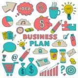 Grupo do vetor de ícones do negócio da garatuja Foto de Stock Royalty Free
