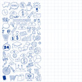 Grupo do vetor de ícones do negócio da garatuja Foto de Stock