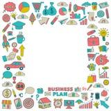 Grupo do vetor de ícones do negócio da garatuja Imagens de Stock Royalty Free