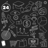 Grupo do vetor de ícones do negócio da garatuja no quadro-negro Foto de Stock