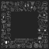 Grupo do vetor de ícones do negócio da garatuja no quadro-negro Fotos de Stock