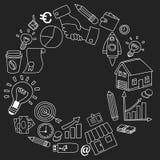 Grupo do vetor de ícones do negócio da garatuja no quadro-negro Imagens de Stock