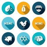 Grupo do vetor de ícones do vírus Gripe respiratória, do termômetro, do doente, da temperatura, a aviária e de suínos, pilhas, ho Foto de Stock Royalty Free