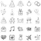Grupo do vetor de ícones dos casamentos do esboço Imagem de Stock Royalty Free
