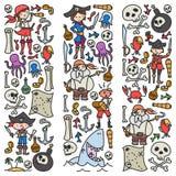 Grupo do vetor de ícones dos desenhos das crianças dos piratas no estilo da garatuja Pintado, colorido, imagens em um pedaço de p ilustração royalty free