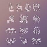 Grupo do vetor de ícones e de gestos lineares da mão ilustração royalty free