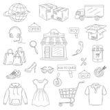 Grupo do vetor de ícones em linha tirados mão da compra ilustração royalty free