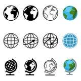 Grupo do vetor de ícones gráficos diferentes do globo do estilo ilustração do vetor