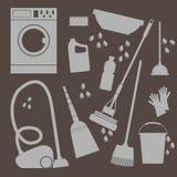 Grupo do vetor de ícones Limpeza e lavanderia do agregado familiar Imagem de Stock Royalty Free