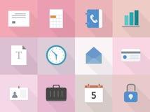 Grupo do vetor de 12 ícones lisos do negócio com sombra longa Fotografia de Stock