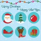 Grupo do vetor de ícones lisos Natal Santa Claus, rena e árvore Imagem de Stock