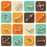 Grupo do vetor de ícones lisos quadrados com sombra longa Imagem de Stock Royalty Free