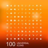 Grupo do vetor de 100 ícones para o design web Imagem de Stock