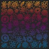 Grupo do vetor de ícones de tiragem das flores da criança no estilo da garatuja Pintado, colorido, imagens do inclinação em um pe ilustração do vetor