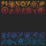Grupo do vetor de ícones de tiragem das flores da criança no estilo da garatuja Pintado, colorido, imagens do inclinação em um pe ilustração stock