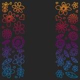 Grupo do vetor de ícones de tiragem das flores da criança no estilo da garatuja Pintado, colorido, imagens do inclinação em um pe ilustração royalty free