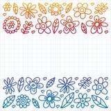 Grupo do vetor de ícones de tiragem das flores da criança no estilo da garatuja Pintado, colorido, inclinação, em uma folha do pa ilustração stock