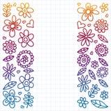 Grupo do vetor de ícones de tiragem das flores da criança no estilo da garatuja Pintado, colorido, inclinação, em uma folha do pa ilustração royalty free
