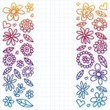 Grupo do vetor de ícones de tiragem das flores da criança no estilo da garatuja Pintado, colorido, inclinação, em uma folha do pa ilustração do vetor