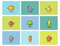 Grupo do vetor de ícones vegetais lisos, personagens de banda desenhada bonitos Fotos de Stock