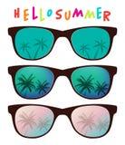 Grupo do vetor de óculos de sol com reflexão da palmeira ilustração royalty free