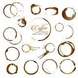 Grupo do vetor de anel isolado da mancha do café Fotografia de Stock