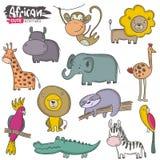 Grupo do vetor de animais do africano dos desenhos animados Cole??o colorida da selva ilustração royalty free