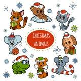 Grupo do vetor de animais bonitos do Natal, etiquetas da cor Fotos de Stock Royalty Free