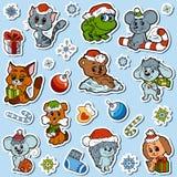 Grupo do vetor de animais bonitos do Natal, etiquetas dos desenhos animados da cor Fotos de Stock Royalty Free
