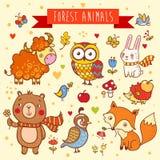 Grupo do vetor de animais selvagens na floresta Fotografia de Stock