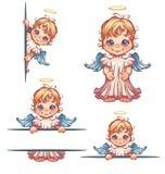 Grupo do vetor de anjo bonito com o painel para o texto Fotos de Stock