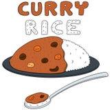 Grupo do vetor de arroz de caril ilustração do vetor