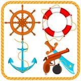 Grupo do vetor de artigos do pirata do mar Foto de Stock Royalty Free