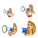 Grupo do vetor de avatars fêmeas no estilo do pop art ilustração stock