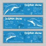 Grupo do vetor de bandeira imprimível do dolphinarium com os golfinhos e texto tirados mão dos desenhos animados Fotografia de Stock Royalty Free