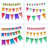 Grupo do vetor de bandeiras coloridos das festões das estamenhas isoladas no fundo branco Foto de Stock