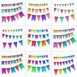 Grupo do vetor de bandeiras coloridos das festões das estamenhas isoladas no fundo branco Foto de Stock Royalty Free