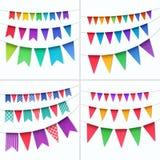 Grupo do vetor de bandeiras coloridos das festões das estamenhas isoladas no fundo branco Imagem de Stock Royalty Free