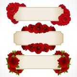 Grupo do vetor de bandeiras com flores vermelhas Cartão, dia de Valentim, aniversário Fl do Valentim do projeto do convite do cas ilustração royalty free