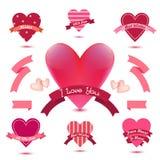 Grupo do vetor de bandeiras do coração, fitas, crachás do amor, ícones Grupo do Valentim do vintage, coleção romântica ilustração do vetor