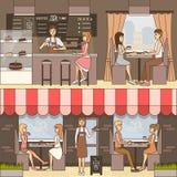 Grupo do vetor de bandeiras horizontais do café no estilo liso ilustração stock