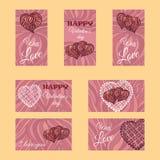 Grupo do vetor de bandeiras ou de cartões Tema do dia do Valentim Fotografia de Stock