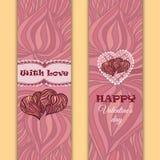 Grupo do vetor de bandeiras ou de cartões Tema do dia do Valentim Imagem de Stock